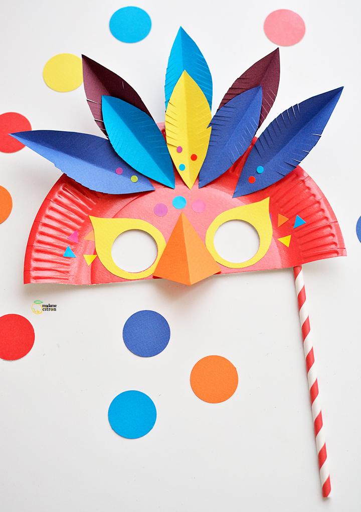 Tuto diy un masque de carnaval en papier madame citron - Bricolage simple pour enfant ...